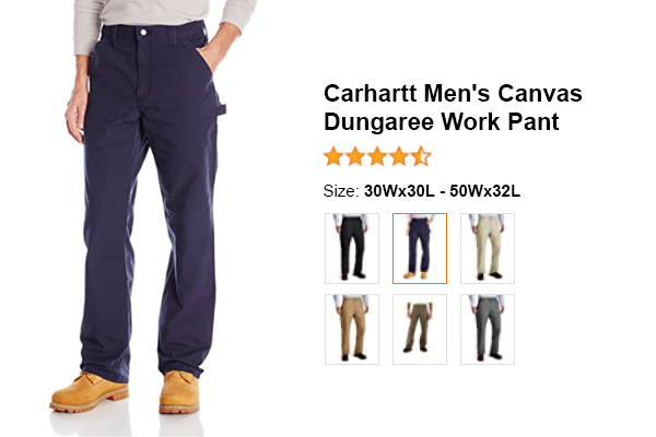 Carhartt Men's Canvas Dungaree Work Pant for summer and hot weather