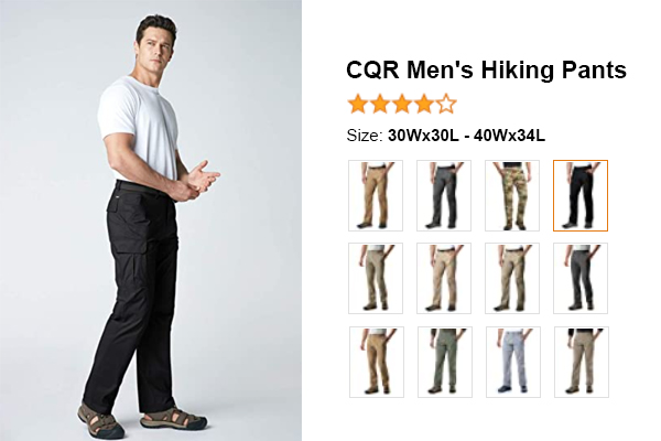 CQR Men's Hiking Pants for summer and hot weather