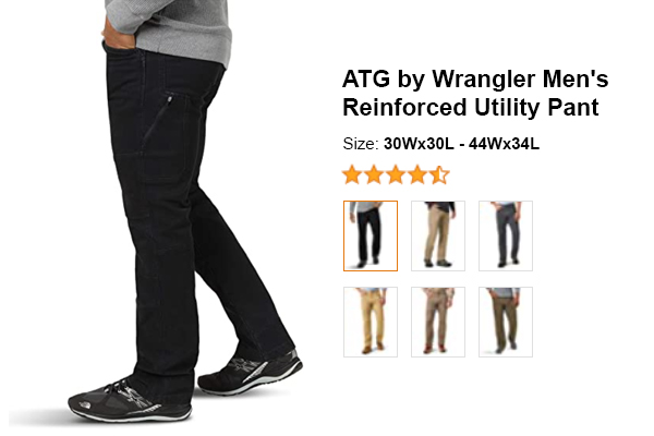 ATG by Wrangler Men's Reinforced Utility Pant for summer and hot weather