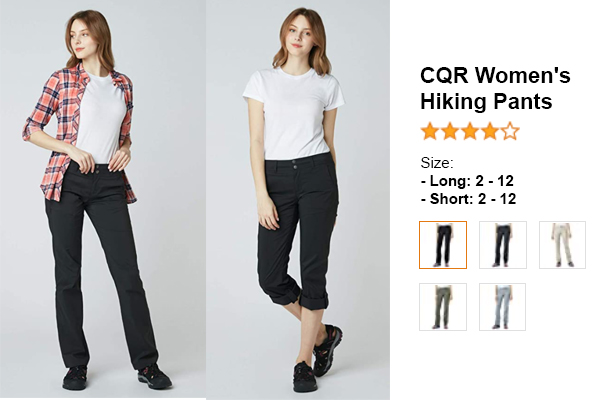 CQR Women's Hiking Pants for summer and hot weather