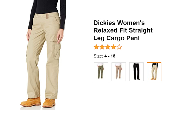 Dickies Women's Relaxed Fit Straight Leg Cargo Pant for summer and hot weather