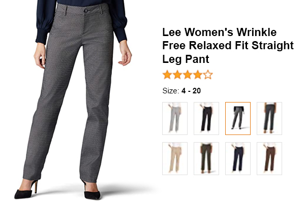 Lee Women's Wrinkle-Free Relaxed Fit Straight Leg Pant for summer and hot weather