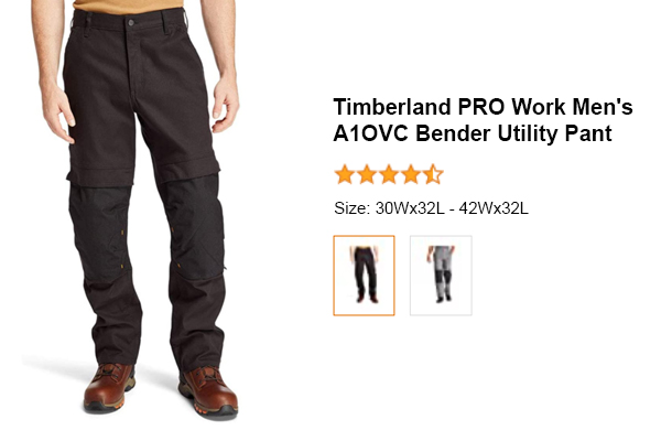Timberland PRO Men's A1OVC Work Bender Utility Work Pant for Electricians