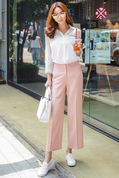 How to wear ankle pants to work - Wide leg pants are currently a new trend of office fashion