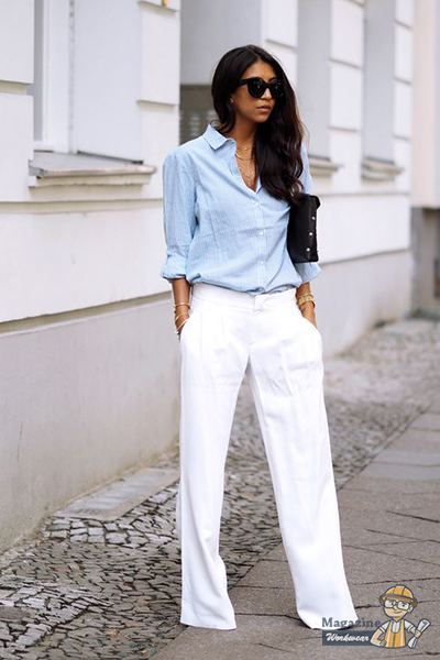 You will look very trendy with a pair of white woolen pants and a loose shirt